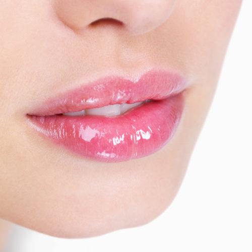 Glossy pink lips